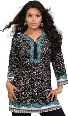Indian Kurti Top Printed Womens Blouse India Clothes (Black/Turquoise, L) Maple Clothing http://www.amazon.com/dp/B00CL02OEC/ref=cm_sw_r_pi_dp_WVLRtb0F7DJ1AYD3