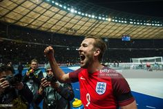 Englands striker Harry Kane acknowledges the travelling fans at the end of the friendly football match Germany v England at the Olympic stadium in Berlin on March 26, 2016. England won the match 2-3. / AFP / ODD ANDERSEN