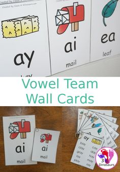 Easy To Use Vowel Team Wall Cards - two different card sizes and types: a free set and a selling set options for the cards - 3Dinosaurs.com