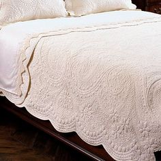 So beautiful and elegant Timeless quilt - traditional - quilts - other metro - Ethan Allen Home Bedroom, Bedroom Decor, Bedrooms, Master Bedroom, White Quilt Bedding, White Coverlet, Cream Bedding, Whole Cloth Quilts, Pretty Bedroom