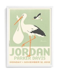 Storks Personalized Art: Personalized nursery art seems to be everywhere these days, but these vintage-vibe stork prints by Alexander Doll ($250) have a special art deco aesthetic that were crazy about.