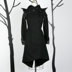Black and Charcoal Grey Tweed with Lambskin Details Military Medieval Inspired Hooded Coat (size 4 small)