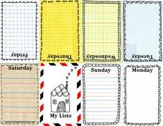printable weekly calendar - so cute.