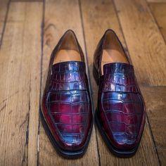Mens purple crocodile loafers #mensshoes PAUL PARKMAN ® The Art of Handmade Shoes For Men