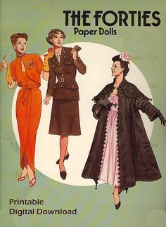 Great Fashion Designs of the Forties Paper Dolls: 32 Haute Couture Costumes by Hattie Carnegie, Adrian, Dior and Others: 32 Haute Couture Costumes by . Adrian, Dior, and Others (Dover Paper Dolls) Paper Dolls Book, Vintage Paper Dolls, Antique Dolls, Modern Fashion, Timeless Fashion, Vintage Fashion, 1940s Fashion, Ladies Fashion, Fashion Dolls