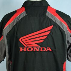HONDA Racing Pit Crew Shirt Mechanics Embroidered The Power of Dreams Mens XL #Honda #ButtonFront