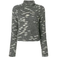 Carven cropped roll-neck jumper ($264) ❤ liked on Polyvore featuring tops, sweaters, grey, gray jumper, jumpers sweaters, cut-out crop tops, roll neck jumper and gray top