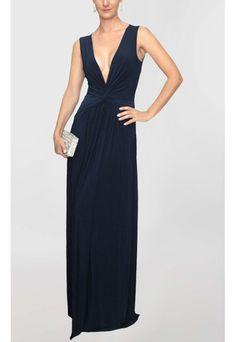 PowerLook Aluguel de Vestidos Online- POWERLOOK Vestido Jana longo de malha de alças Powerlook - azul  #jana #vestidolongo #malha #azul #vestidofesta #vestidomadrinha #vestidocasamento #madrinha #decote #noite