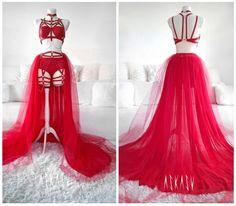 #askasu #fashion #design #red #fire #harness #spike #dark #goth #dress #lingerie #mesh #chains