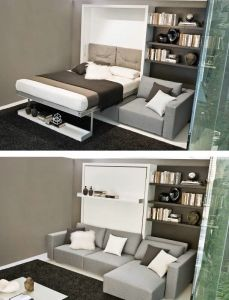 Resource Furniture Queen Bed and Full Chaise Lounge- love this! very cool way to have both a couch and bed.not like those old pull out sofa beds. This is actually modern looking and comfortable. Resource Furniture, Cama Murphy Ikea, Small Apartments, Small Spaces, Modern Murphy Beds, Murphy Bed Plans, Queen Murphy Bed, Space Saving Furniture, Outdoor Kitchen Design