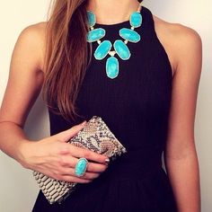Nothing like turquoise on black with a nice tan to look dressy for an evening.