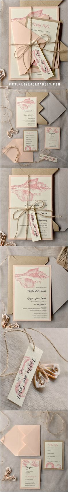 Beach Wedding Invitations with Seashells - peach & eco kraft paper #beach #beachwedding #seashell #rustic #nature #weddingideas