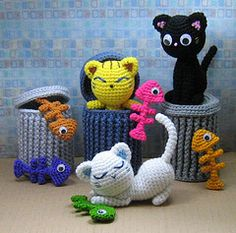 """crochet cat pillows free patterns   The crochet pattern for this """"Alley Cats"""" set is available here ."""