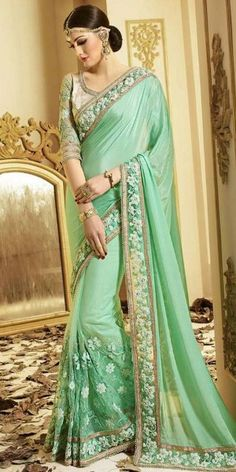 Dashing Green And Cream Satin Georgette Saree With Blouse.