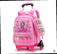 ef8a64007 Princess school bag with wheel Removable backpack orthopedic schoolbags  trolley book bags lovely girls boys grade bag 4 colors