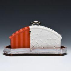Liz Zlot Summerfield, White & Platinum Butter Dish with Butter (Inside: Ceramic Butter). Crimson Laurel Gallery