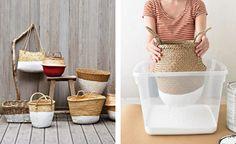 dip-dye baskets via @curbly http://curbly.com/capreek/posts/10220-diy-idea-modern-dip-dyed-baskets