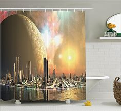 Fabric Shower Curtain Set By Ambesonne Utopia Islands Floating Future Cities Imaginary Fantasy Artwork Futuristic