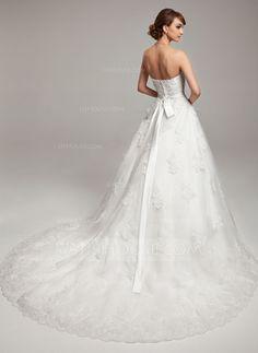 De baile Coração Cauda longa Tule Charmeuse Vestido de noiva com Renda Bordado Curvado (002017538)