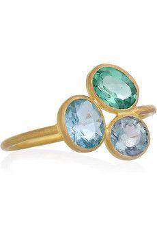 marie-hélène de taillac. 22-karat gold apatite and tourmaline ring