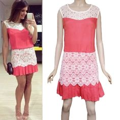 6.72$  Know more - http://aithx.worlditems.win/all/product.php?id=G1000R-L - Fashion Women Mini Dress Crochet Lace Patchwork Pleated Hem Side Zipper Crew Neck Sleeveless Dress Red