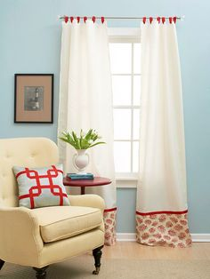Craft a Custom Curtain  Cut a full sheet in half lengthwise and hem along the cut edges. Dress up the bottoms by stitching on leftover fabric in a pretty pattern and hide the seams with a stripe of coordinating ribbon.