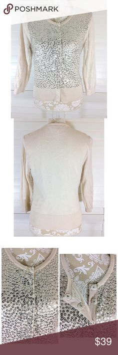 ⚜Snap On Cardigan with Silver Sequin Detailing⚜ ⚜Bust: ⚜Waist: ⚜Length:  🎀Condition: No Rips; No Stains  🎀62% Cotton 38% Modal  🚫No Trades🚫No Holds🚫 White House Black Market Sweaters Cardigans