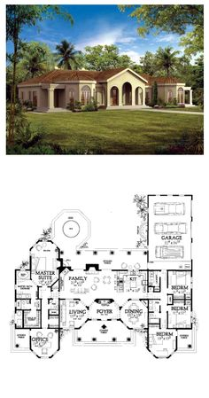 Southwestern Style COOL House Plan ID: chp-19827 | Total Living Area: 2831 sq. ft, 4 bedrooms & 3 bathrooms. #adobestyle #houseplans