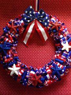 Patriotic ribbon wreath.