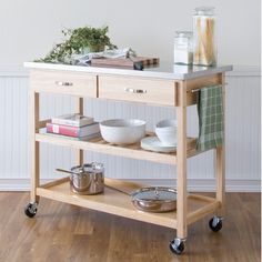 Castleton Home Solid Wood Top Kitchen Island Cart