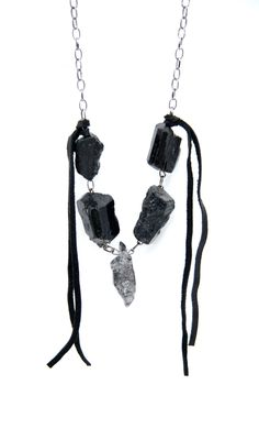 Black Tourmaline Energetic Protection Necklace - Tourmalinated Quartz Metaphysical Spirit Necklace - Luck and Protection. $75.00, via Etsy.