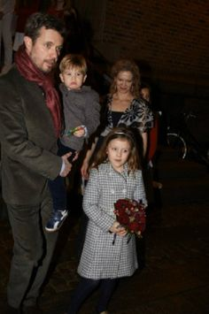 (L-R) Denmark's Crown Prince Frederik, Prince Vincent and Princess Isabella attending a Christmas concert in the Esayas church, 15.12.13