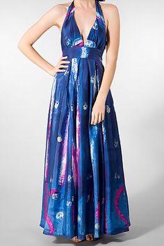 Adam Long Halter Dress in Starry Night