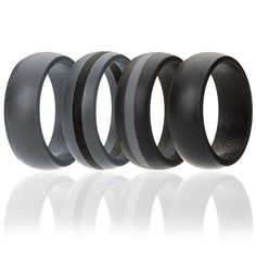 Silicone Wedding Ring For Men By ROQ, 4 Pack Silicone Rubber Band - Black, Black With Thin Grey Stripe, Grey With Black Stripe, Grey, Size 13