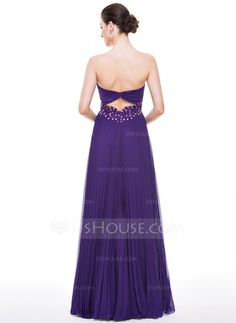 A-Line/Princess Sweetheart Floor-Length Chiffon Prom Dress With Beading Appliques Lace Sequins Pleated (018056790)