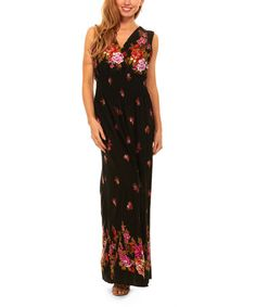 Loving this Black & Red Floral Smocked-Waist Maxi Dress on #zulily! #zulilyfinds