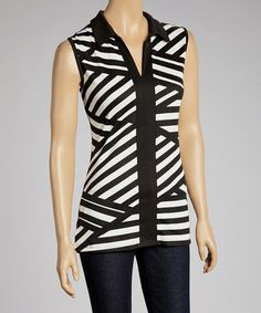Take a look at this Black & Ivory Stripe Sleeveless Top by Faith and Joy on #zulily today! $17 !!