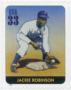 Jackie Robinson fue el primer beisbolista afroamericano que jugó en las Ligas Mayores. Además fue activista político y comunitario por la igualdad de derechos y lucha contra la discriminación. Estados Unidos, 2000 Jackie Robinson Leyendas del Beisbol