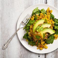 Chickpea Scramble with Sweet Potato Salsa & Garlicky Kale   picklesnhoney.com