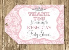 Pink & Grey Damask Princess Baby Shower Favor Tags- Printable. $8.00, via Etsy.