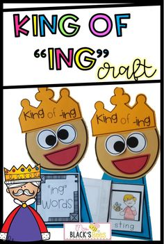 This ing ending activity is a fun literacy idea that can be used during your kindergarten or first grade language arts centers or small groups. Students make the king craft and then assemble the ing book. Children will have fun cutting and matching the pictures to words to complete the reader.