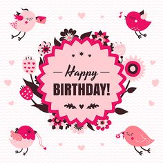 Vector Happy Birthday and I Love You backgrounds and cards with cute cartoon birds
