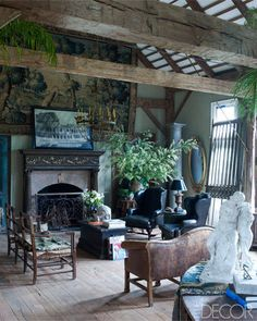 Ode to the Past. From the pages of Elle decor. Beautiful intimate living room.