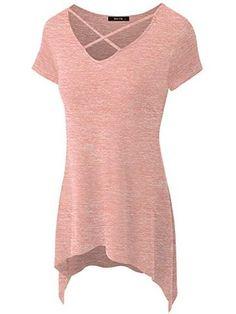 Zero City Women's Sexy Criss Cross Neck Casual Loose T-Shirt Tunic Top