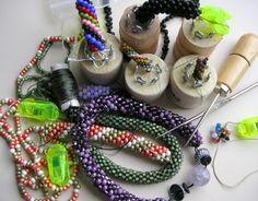Bead crochet with a jig.