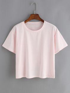 Shop Crew Neck Pink T-shirt online. SheIn offers Crew Neck Pink T-shirt & more to fit your fashionable needs.