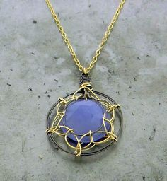 Blue Chalcedony, 18K Yellow Gold and Oxidized Sterling Silver