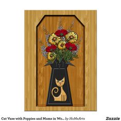 """Cat Vase with Poppies and Mums in Wood Alcove - The affordable 20x28"""" Poster features a delightful Trompe L'oeil (Trick of the Eye) is an original work of art by Leslie Sigal Javorek of a vibrant #bouquet of #red_poppies and yellow #chrysanthemums in a black 1950's #retro shape vase adorned w/a cool honey color #cat that appears to be set inside of a recessed #wooden alcove. Choose paper type (glossy, matte, canvas, etc.)"""