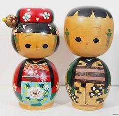 "1950's Japanese Kokeshi Doll Large Size Lovely Classical Pair 7"" 17 5cm | eBay"