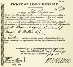 Ticket of Leave Passport 1846